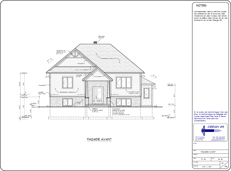 Design 89 pour la conception de plans architecturaux nos services - Plan coupe facade maison ...